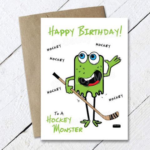 Kids Hockey Monster Birthday Card
