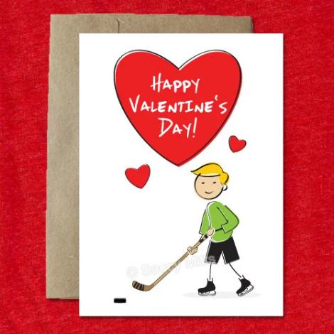 Cartoon Boy Hockey Valentine's Card