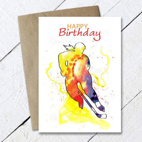 Women's Hockey Birthday Card Watercolor