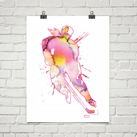 Women's Hockey Watercolor Poster Print Pink