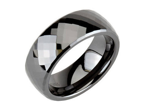 Ceramic Couture 8mm Black Faceted Men's Band