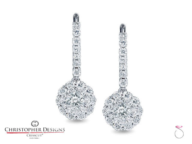 1.25 ct. Christopher Designs Diamond Halo Dangle Earrings . Style: G52ERF