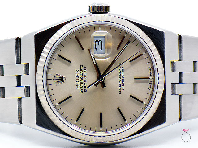 ROLEX OYSTER QUARTZ 36mm DATEJUST STAINLESS STEEL Ref. 17014 SILVER DIAL