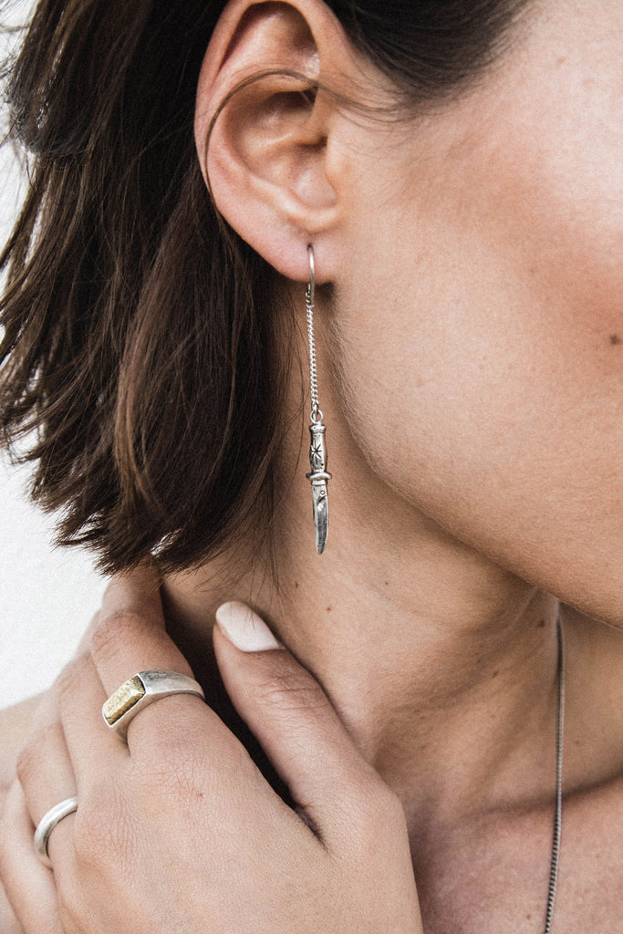 The Dagger Earrings - silver