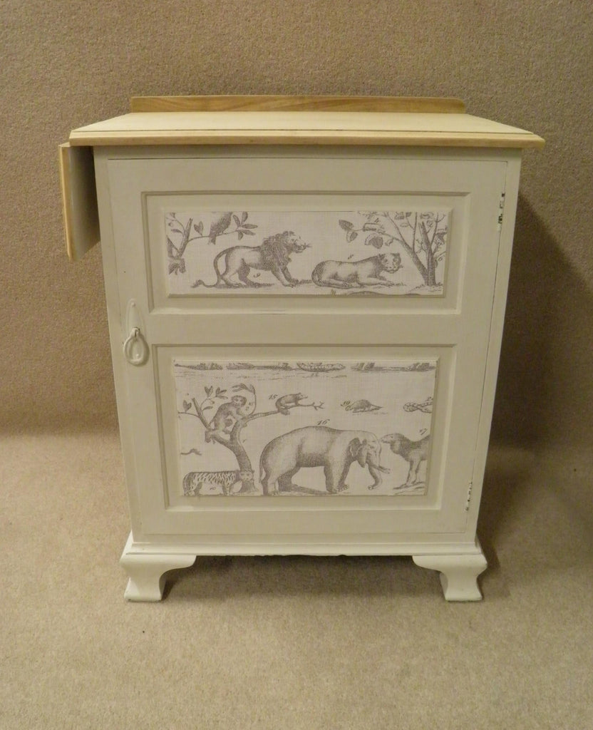 Antique Vintage Shabby Chic Bedside Locker With Single Drop Flap