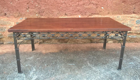 213.....Vintage Heavy Solid Hardwood Coffee Table On Decorative Metal Base