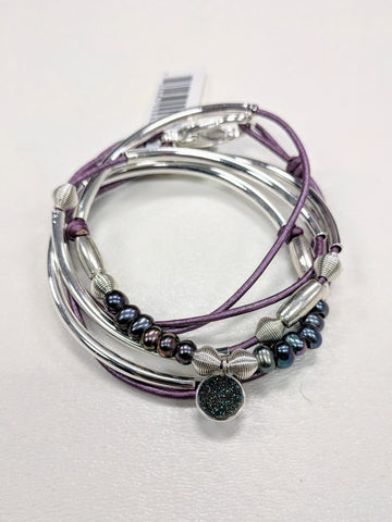 Cambria Druzy 2-Strand in Metallic Berry, Size Small