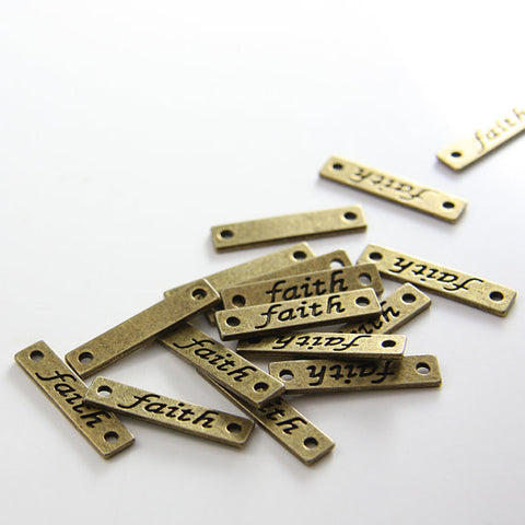 Base Metal Faith Sign Links-26x6mm (11657Y)