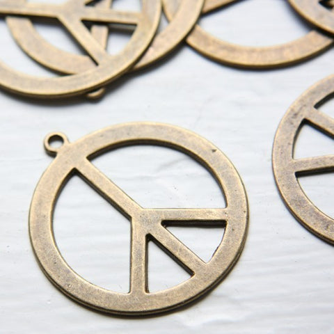 Base Metal Charms-Peace Sign 40mm (X-Large) (1880Y)