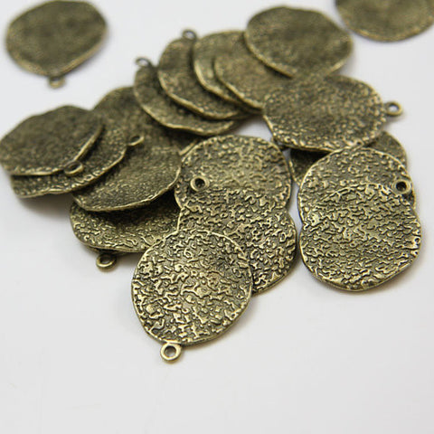 Base Metal Charms-Texture Waved Disk 24x19mm (2516X)