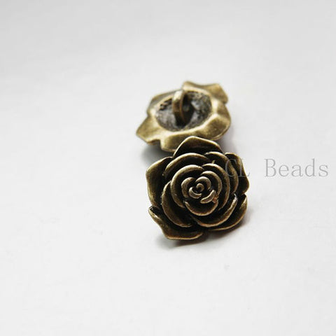 Base Metal Button - Flower 18x10mm (22408Y)