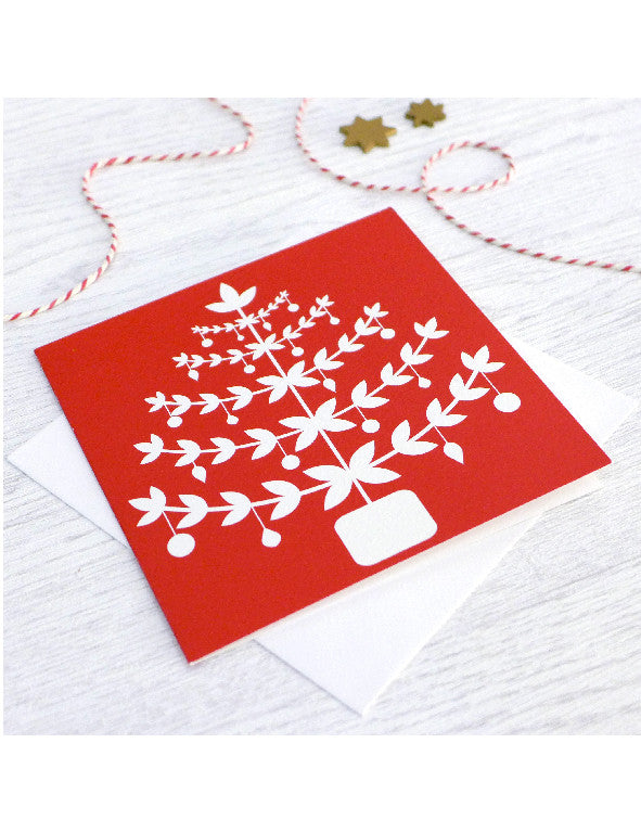 Pack of 5 Red Christmas Tree Cards