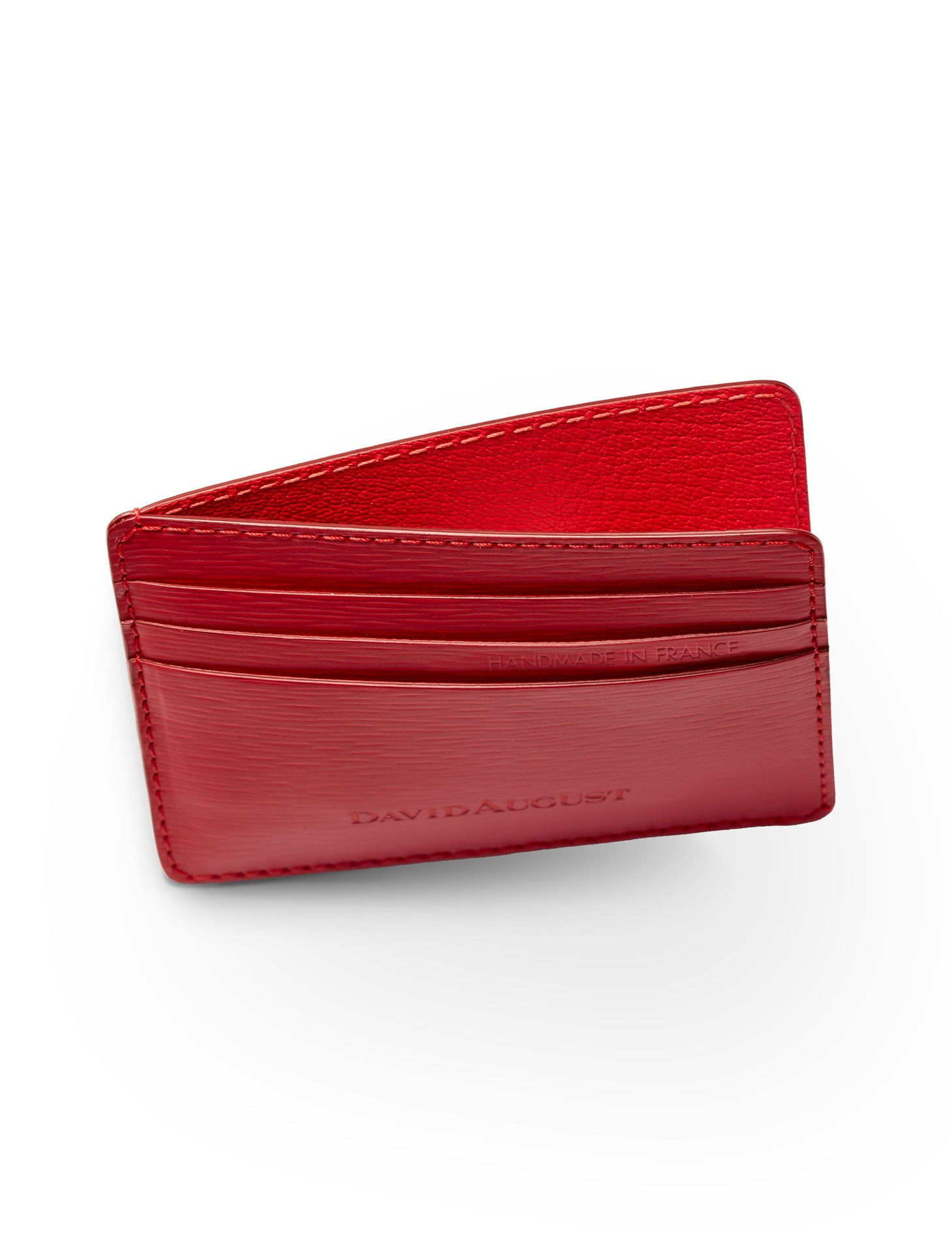 David August Luxury Genuine Epi Leather Card Case in Red