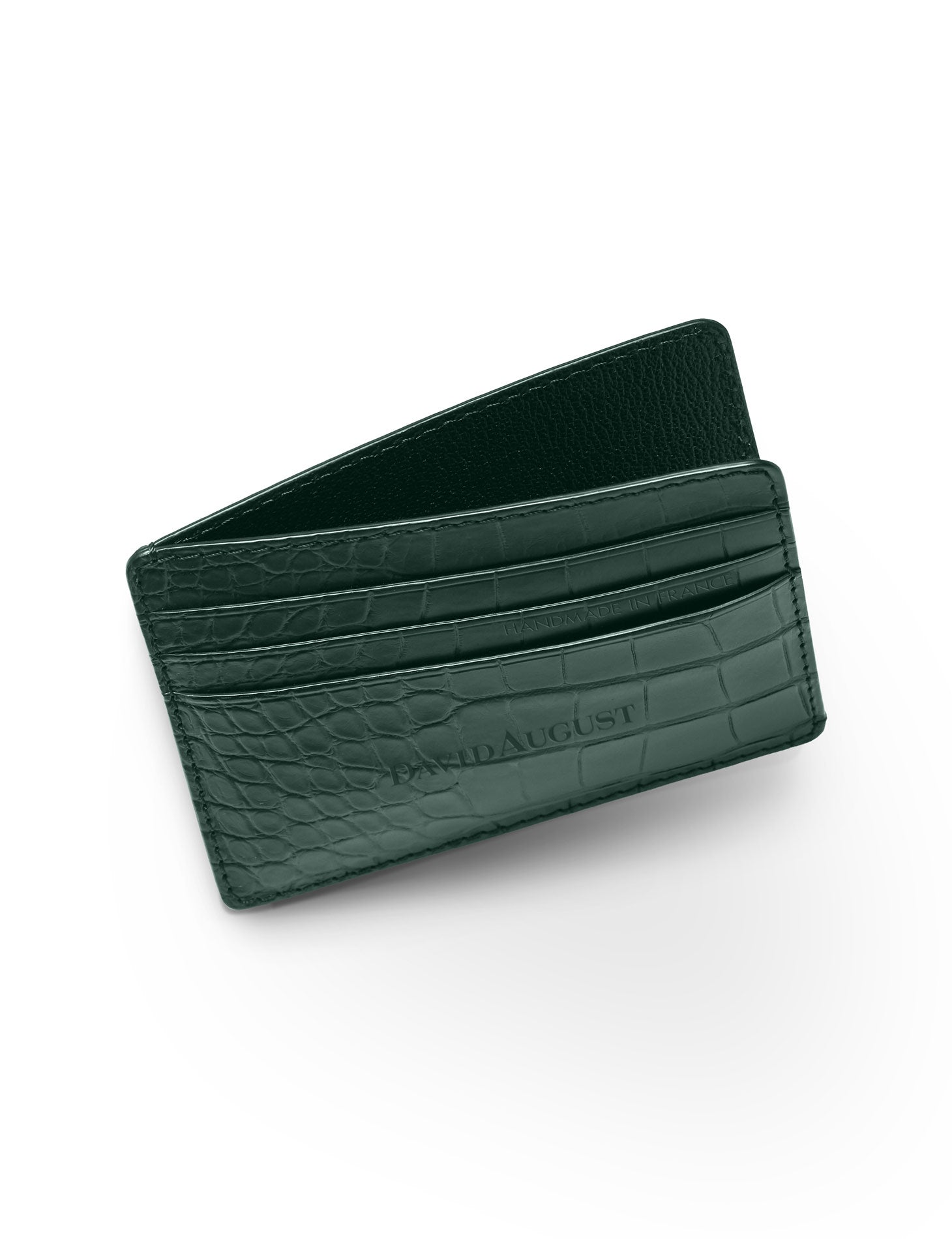 David August Luxury Genuine Alligator Card Case in Green