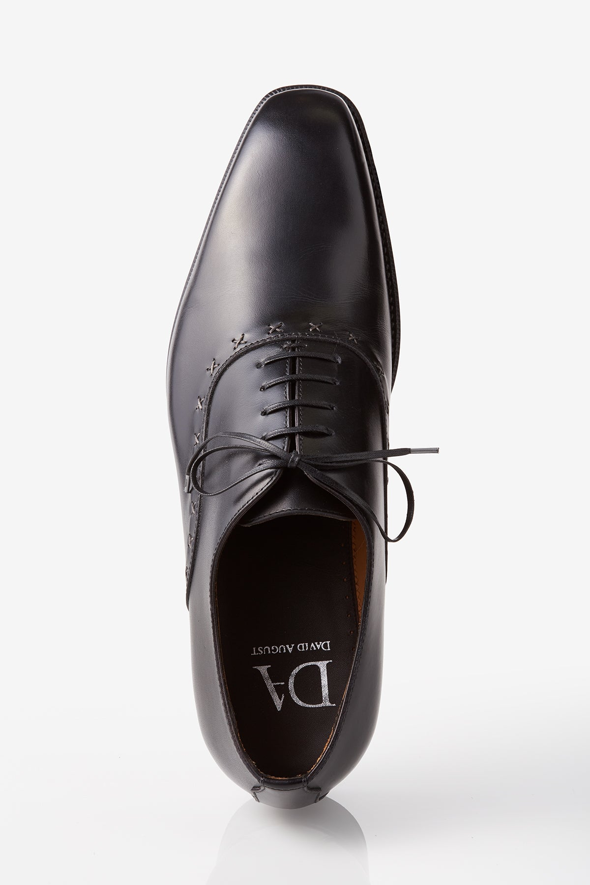 David August Leather Lace Up Cross Stitched Oxfords in Black Di Bianco