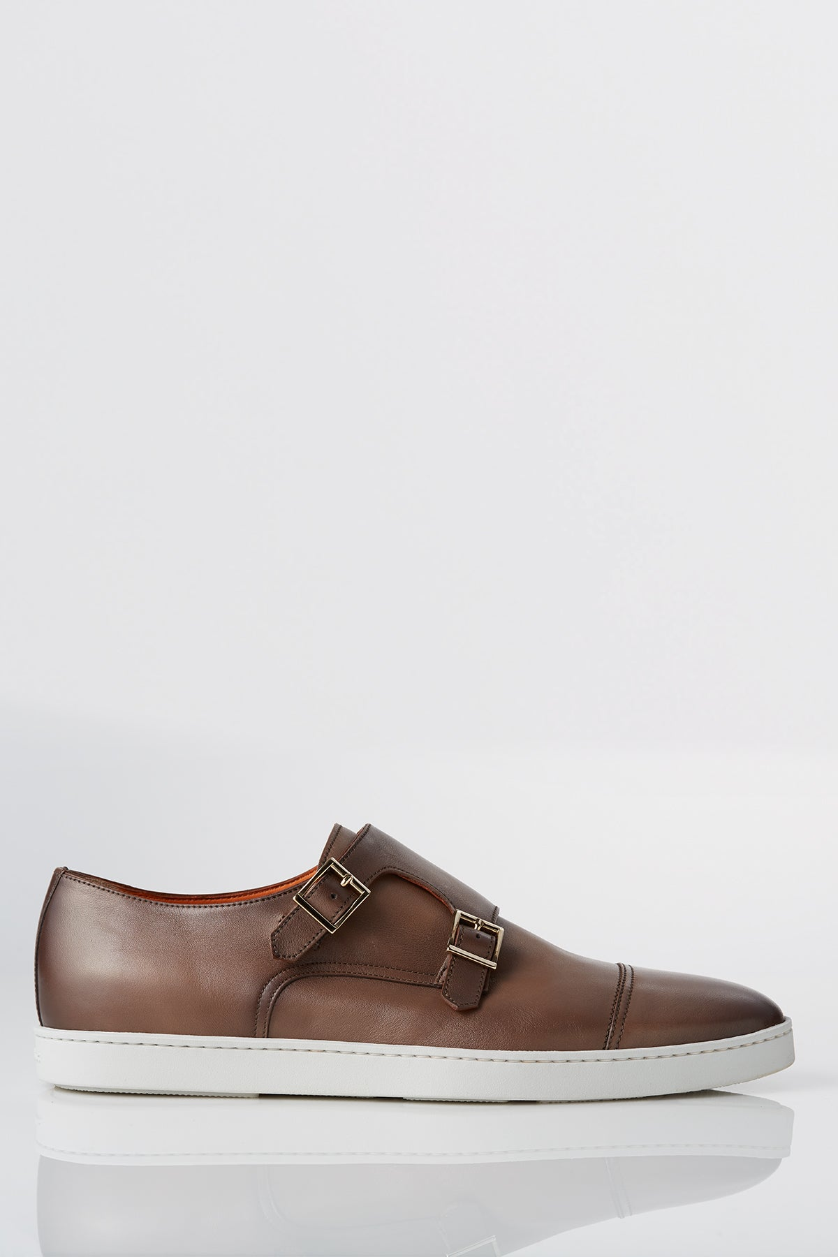 Santoni Freemont Double Buckle Monk-strap Sneaker in Beige Brown