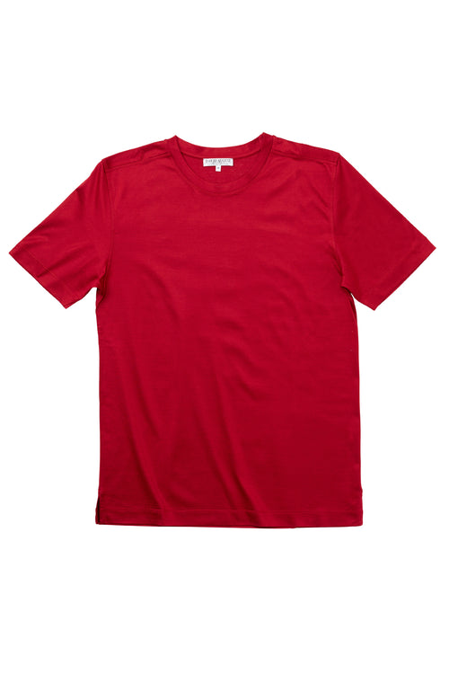 Luxury Mercerized Cotton T-Shirt Crew Neck in Red