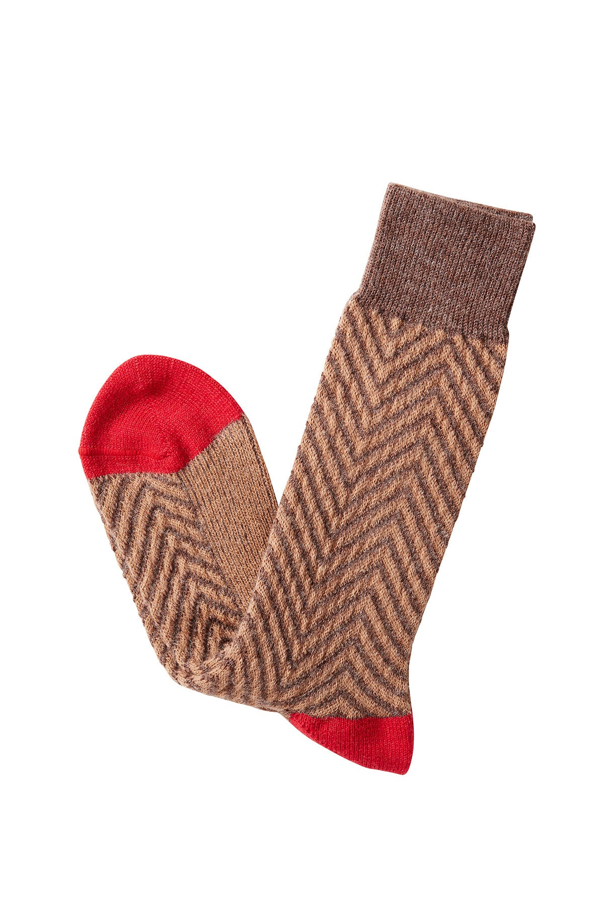 David August Socks - Brown Chevron Socks