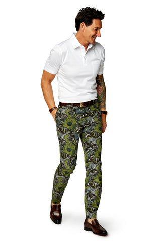 David August Slim Fit Tapered Blue Peonies Cotton Trouser - Cut-to-Order