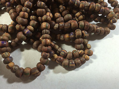 1/0 Aged Matte Stripes Brown Red  Blue Yellow Picasso Czech Crow Beads 18""