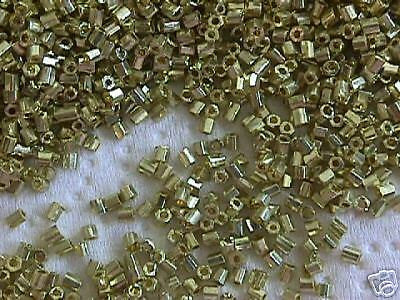 10/0 Gold Brass Metallic Galvanized Hex  Seed Beads 25g