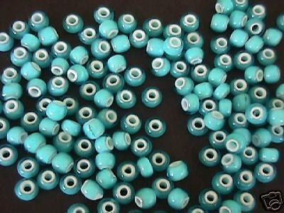 1/0 Aqua Blue White Heart Czech Crow Seed Beads