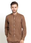 CASUAL LONG SLEEVE BROWN LINEN