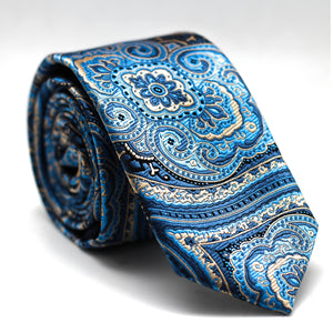 PAISLEY BLUE GOLD SKINNY TIE