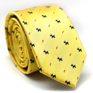 Skinny Tie Yellow with Dog & Flower Pattern