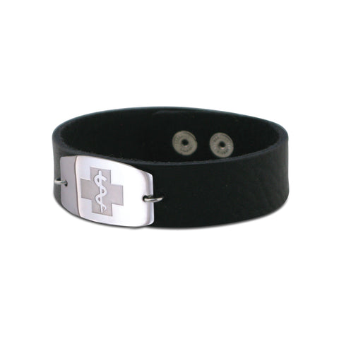 NEW! Casual Leather Wristband - Large Emblem - Snap Closure - Smooth Raging Black