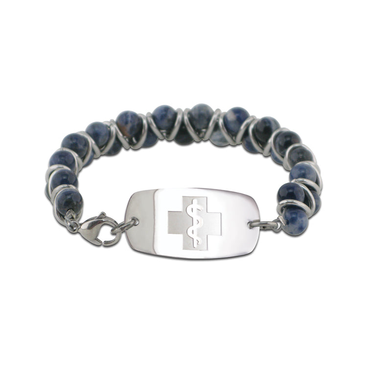 NEW! Stone and Steel Bracelet - Small Emblem - Lobster Clasp - Sodalite