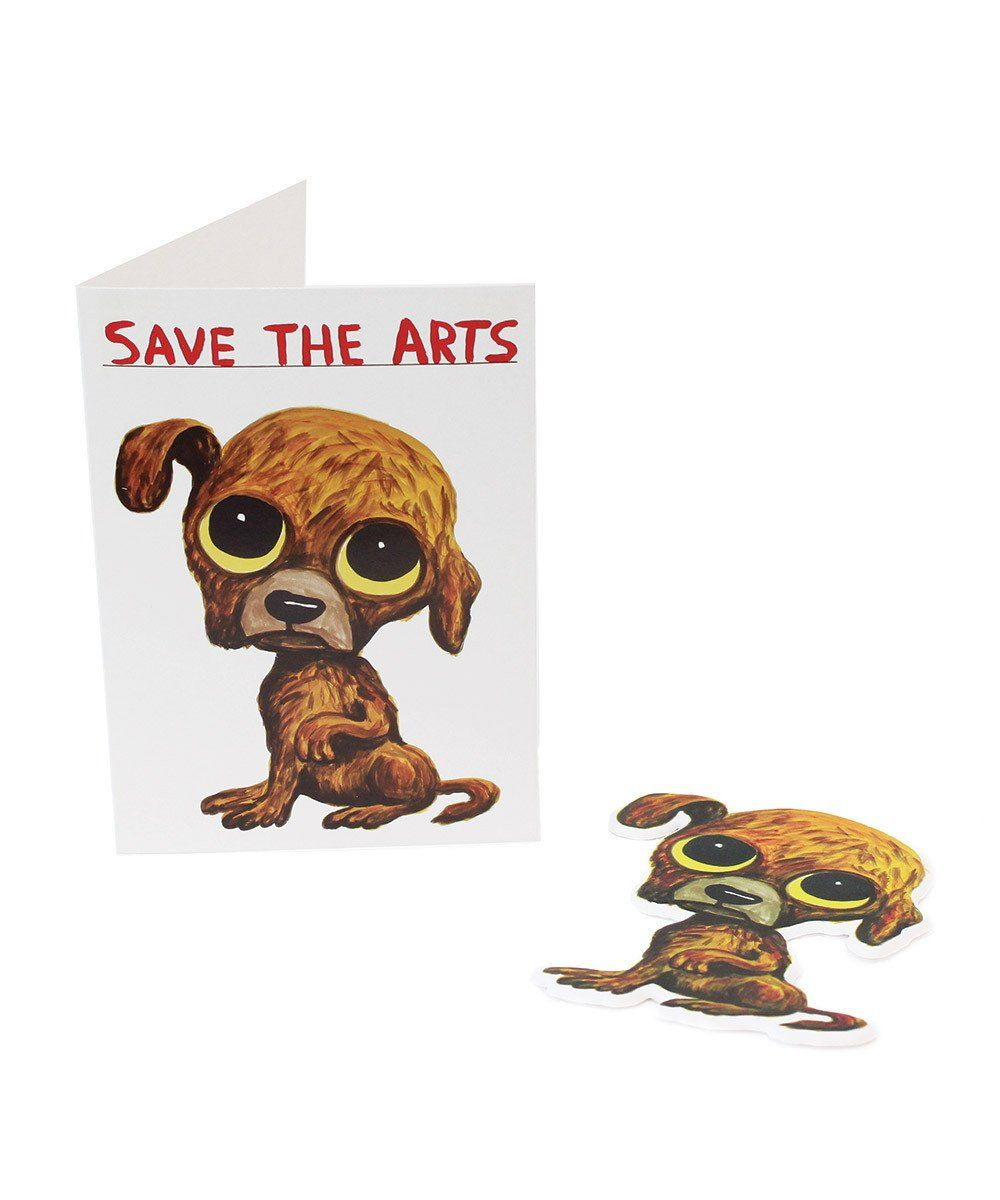 Save The Arts Puffy Sticker Card X David Shrigley Paper Third Drawer Down Studio