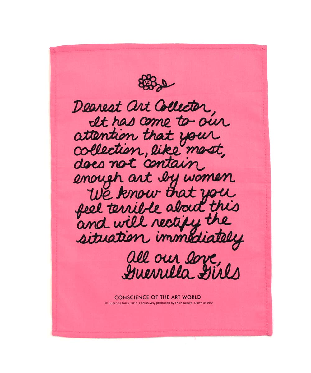 Third Drawer Down X Guerrilla Girls, Dear Art Collector Handkerchief Textiles Third Drawer Down Studio Default