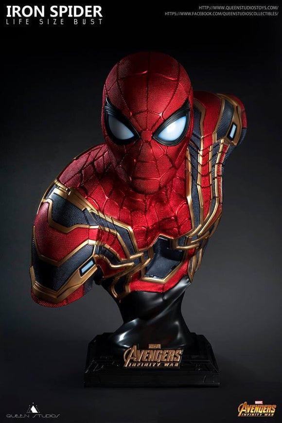 avengers marvel iron spider movie life size bust end game spiderman