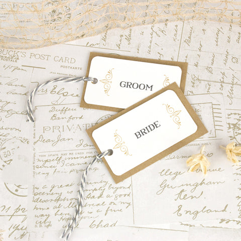 'Happily Yours' Wedding Place Name Tags