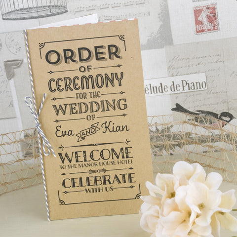 'Vintage Typography' Wedding Order of Service