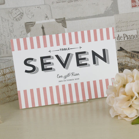 'Vintage Typography' Ivory Wedding Table Name Cards