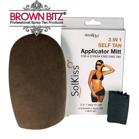 Self tanning mitt 3 in 1 by Solkiss tan applicator mitts