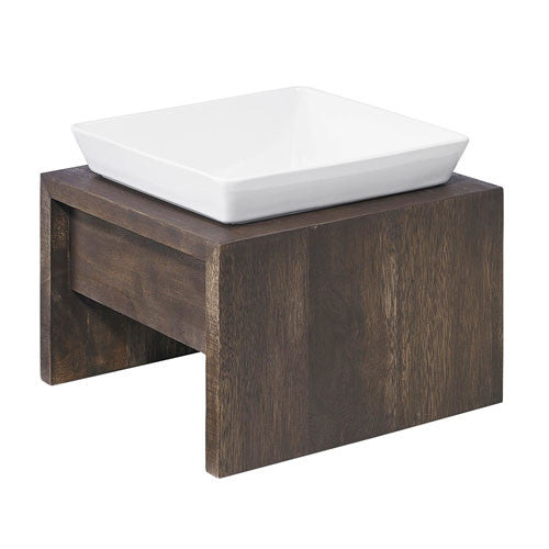 Artisan WALNUT Rubberwood Single Elevated Dog Bowl Feeder