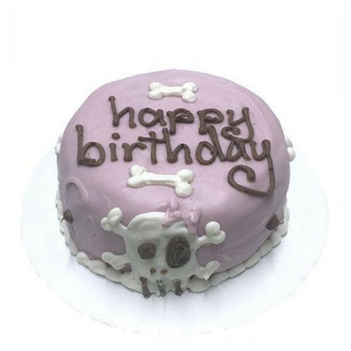 Bubba Rose Biscuit Company Pink Punk Rock Skull Peanut Butter Cake For Dogs
