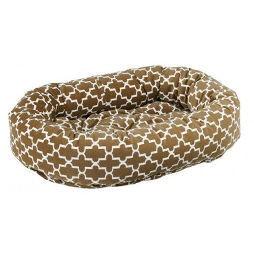 Bowsers MicroVelvet Donut Bolstered Nesting Dog Bed — Cedar Lattice