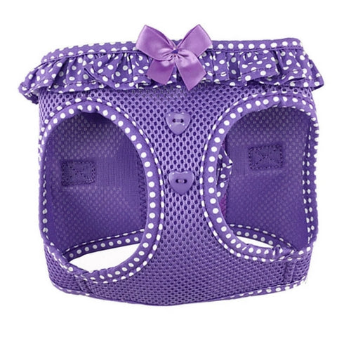Doggie Design Polka Dot American River Choke Free Dog Harness — Purple Front View