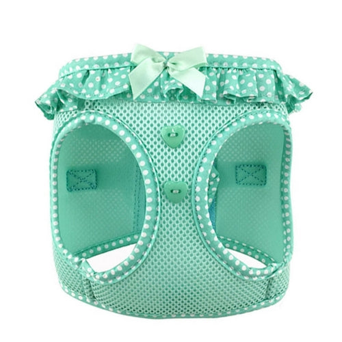 Doggie Design Polka Dot American River Choke Free Dog Harness — Teal Front View