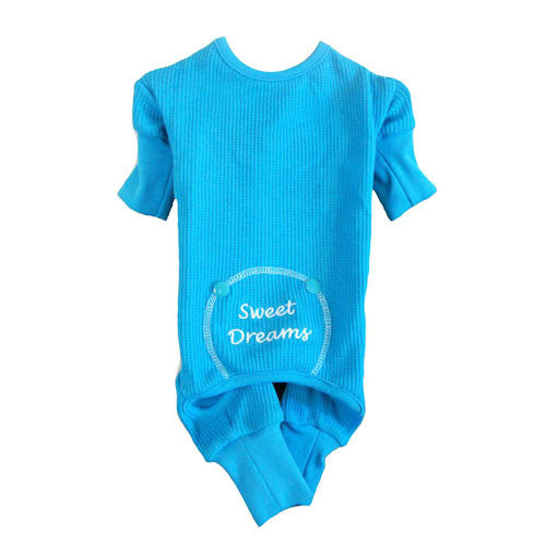 Doggie Design Sweet Dreams Thermal Dog Pajamas — Blue