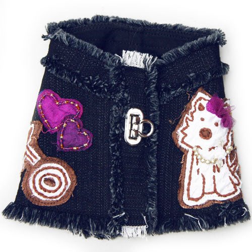 Dog in The Closet Hugs and Kisses Denim Vest Harness Back View