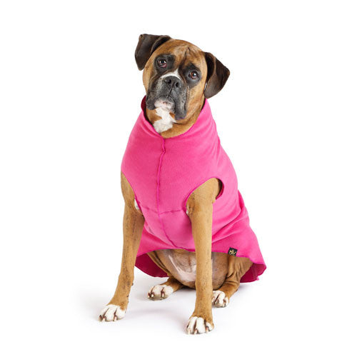 Gold Paw Series Stretch Fleece Pullover Dog Clothing — Fuchsia