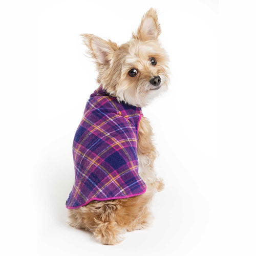 Gold Paw Series Stretch Fleece Pullover Dog Clothing — Mulberry Plaid