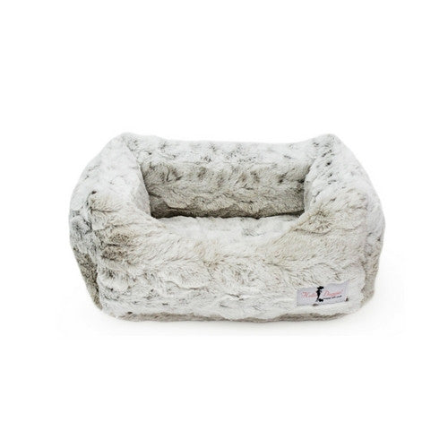 Hello Doggie Luxe Nesting Lounge Bed — Faux Fur Snow Leopard Small