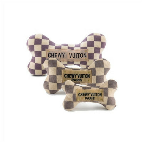 Haute Diggity Dog Chewy Vuiton Checker Bone Designer Plush Dog Toy