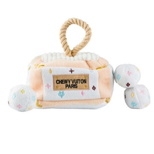 Haute Diggity Dog Chewy Vuiton Trunk Interactive Plush Dog Toy Front View